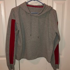 Grey cropped sweatshirt with red stripe
